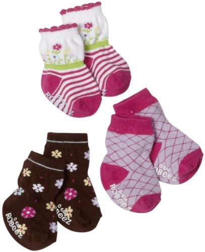 Robeez Baby-girls Infant 3 Pack Stem Flower Socks, Purple/Multi, 6-12 Months