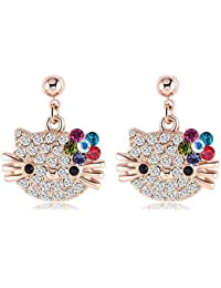 Yiwu Crystal Multicolor 18k Rose Gold Metal Kitty Earring Fashion Jewellery For Women