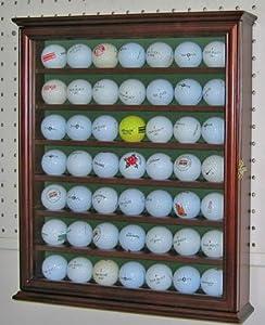 49 Golf Ball Display Case Holder Shadow Box Cabinet, W glass Door-Walnut Finish,... by NULL