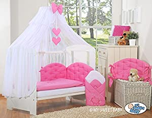 LUXURY & ABSOLUTE BEAUTIFUL with embroidered heart dark pink baby bedding set for your little one cot bed or cot (includes  cover x 2, bumper made of 3 pcs, big mosquito net / canopy / drape made of chiffon to cover all 4 sides of the bed, decorative bow & hearts) + drape holder (fits most types of cots and cot beds with ends/heads up to 4cm thick)       BabyCustomer review