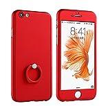 Le futur(ル・フタール) iPhone 6S Plus ケース iPhone 6 Plus カバー アイフォン6/6S Plus ケース カバー 360°保護 フルカバーケース 専用ハーフ9Hガラスフィルム付き マット表面 触り心地の良い スマートフォン指1本で保持 リングスタンド 3in1 ケース 滑り防止 指紋防止 全面保護 軽量 超薄 レッド