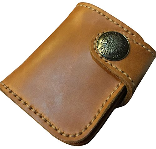 D'SHARK Men's Biker Genuine Leather Luxury Bi-fold Wallet with Chain (Brown) 5