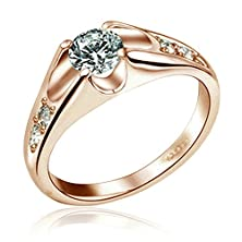 buy Yoursfs 18K Rose Gold Plated Solitaire Cubic Zirconia Cz Wedding Rings (9)