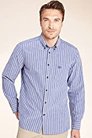 XXXL Blue Harbour Pure Cotton Slim Fit Striped Shirt