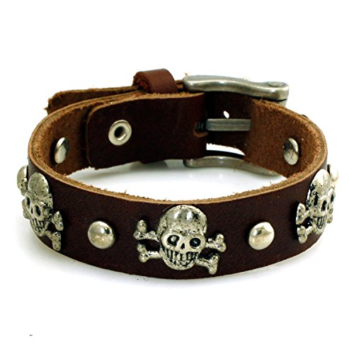 TIONEER Leather Skulls and Buttons Belt Style Cuff Bracelet