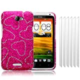 HTC One X Love Hearts Diamante Case / Cover / Shell / Shield + 6-in-1 Screen Protector Pack Part Of The Qubits Accessories Range