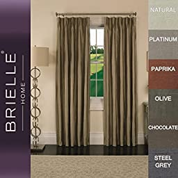 Brielle 100% Dupioni Real Silk Lined, Insulated, Room Darkening, Energy Saving and Pinch Pleat Finish Rod Loop Back Tab Panel, 33 by 84\