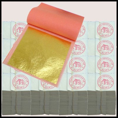 5 paquet contient 100 = 500 feuilles d'Or 24 ct Dorure 4,5 x 4,5 cm