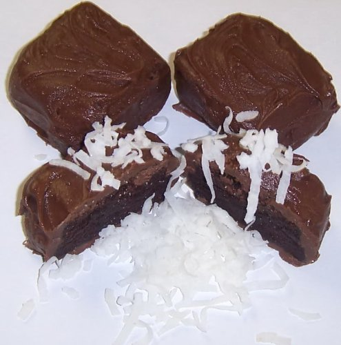 Scott's Cakes 1 lb. Milk Chocolate Brownie Bites with Coconut in a Decorative Tray with Krinkle Paper