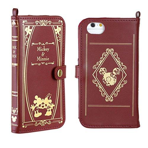 iPhone6s iPhone6 ケース 手帳型 カバー ディズニー Old Book / ミッキー / ミニー / バーガンディ