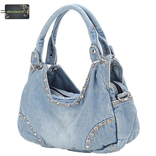 Donalworl Women Casual Tote Ladies Large Designer Denim Shoulder Bags Handbag Pattern2
