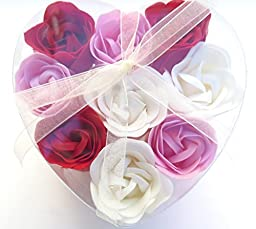 Mother\'s Day rose basket, Charming Rose Scent Bath Bomb, Nine Colorful Rose Flower with Heart Gift Box.3red+3white+3pink