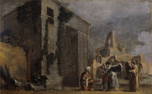 Polyster Canvas ,the Best Price Art Decorative Canvas Prints Of Oil Painting 'Bramer Leonaert Abraham Y Los Tres Angeles Ca. 1640 ', 8 X 13 Inch / 20 X 33 Cm Is Best For Living Room Gallery Art And Home Decor And Gifts