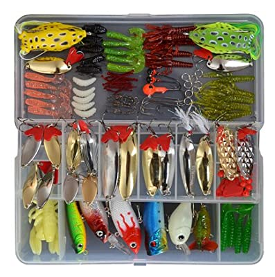 1 Set (129 Pcs) Fishing Lure Tackle Kit Bionic Bass Trout Salmon Pike Fishing Lure Frog Minnow Soft Shrimp Grubs Jigging Lures Artificial Hard Spoon Spinner Sequins Lure