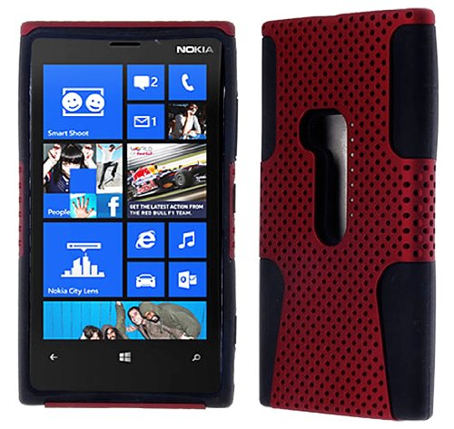 Mylife (Tm) Electric Crimson Red And Shocking Matte Black Perforated Mesh Series (2 Layer Neo Hybrid) Slim Armor Case For The Nokia Lumia 920, 920.2, 920T And 920 4G Camera Smartphone By Microsoft (External Rubberized Hard Shell Mesh Piece + Internal Soft