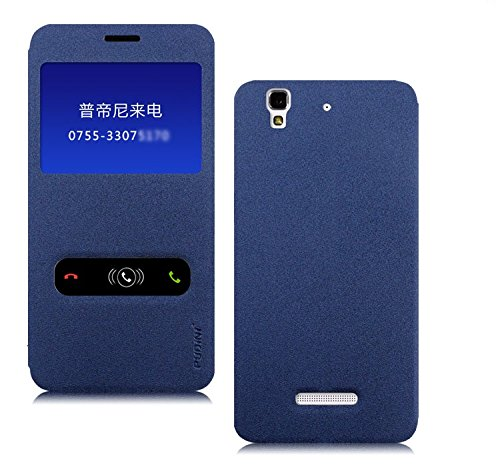 Pudini Goldsand Series Flip Stand Case Cover for Micormax Yu Yureka - Free Screenguard - Blue