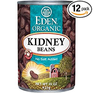 bpa free Eden Organic Kidney Beans, No Salt Added, 15-Ounce Cans (Pack of 12)