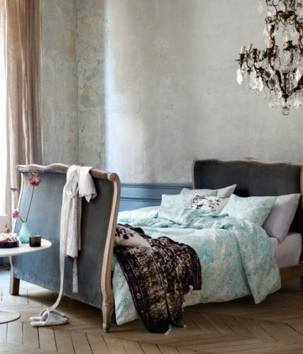Lace Print French Vintage Duvet Cover And Pillowcases 3Pc Set Queen Or King Size 100% Cotton Turquoise And White (King)