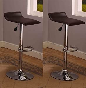 King's Brand 9009B Air Lift Adjustable Bar Stool with Vinyl Seat, Black and Chrome Finish,... by King's Brand