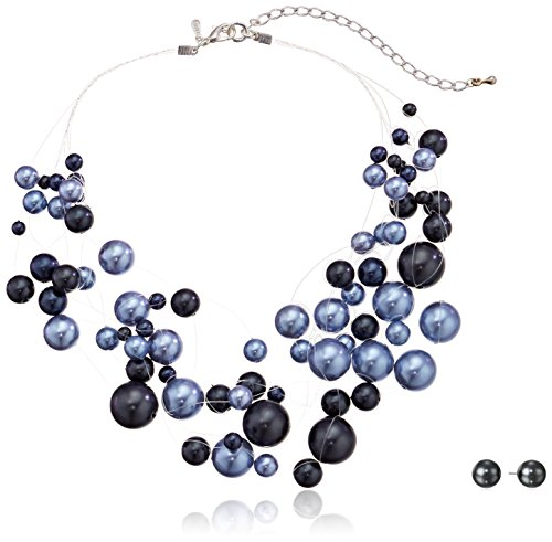 Blue Tonal Faux Pearl Silver-Tone Illusion Necklace And Stud Earrings Jewelry Set