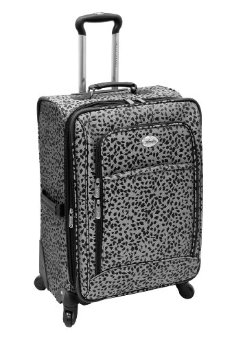amelia-earhart-luggage-safari-360-collection-24-expandable-upright-silver-black-jacquard-24-inch
