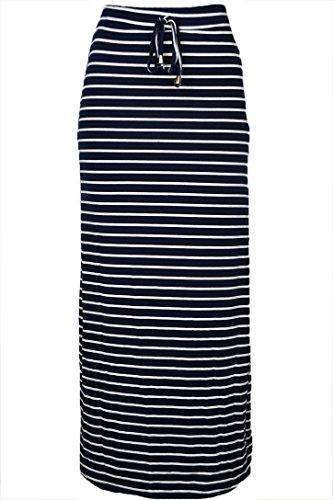 143Fashion Ladies Fashion Striped Long Skirt (Xx-Large, Navy/Beige)