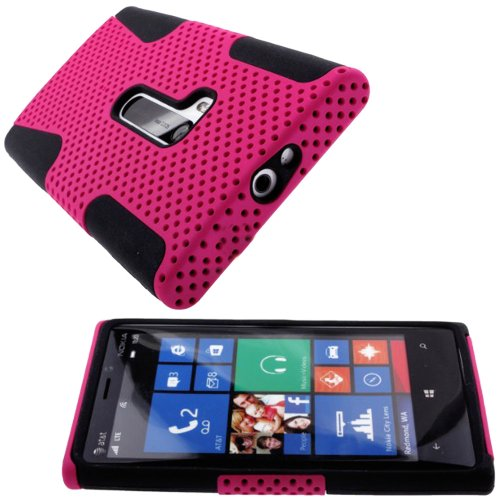 Mylife (Tm) Vibrant Pink + Black Perforated Mesh Series (2 Layer Neo Hybrid) Slim Armor Case For The Nokia Lumia 920, 920.2, 920T And 920 4G Camera Smartphone By Microsoft (External Rubberized Hard Shell Mesh Piece + Internal Soft Silicone Flexible Gel)