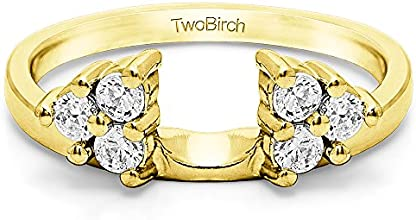 10k Gold Three Stone Ring Wrap Enhancer with Charles Colvard Created Moissanite 057 ct twt