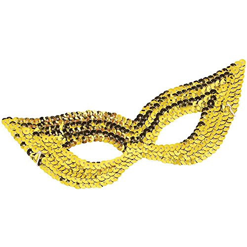 Gold Sequin Harlequin Eye Mask - One Size