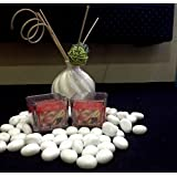 Christmas Decorations - Apple Cinnamon Fragrance Square Glass Wax Candles - Set Of 2