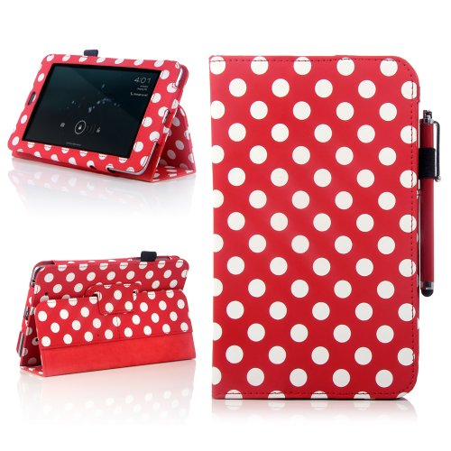 Atc Red Polka Dots Book Folio Design Stand Pu Leather Case Cover For Google Nexus 7 Tablet