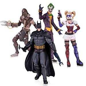 DC Collectibles Batman: Arkham Asylum: The Joker, Harley Quinn, Scarecrow and Batman Action Figure (4-Pack)