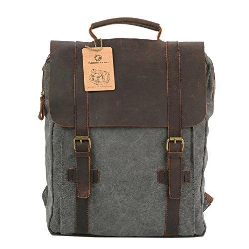 Koolertron-Zaino-Pelle Tela Scuola Viaggi Bookbag Campeggio Zaino Computer portatile borsa (Grigio)