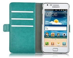 JAMMYLIZARD | Luxuriös Wallet Ledertasche Hülle für Samsung Galaxy S2, TÜRKIS