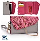 GREY & PINK ZEBRA | Universal Women's EPI Leather Wallet Phone Bag with Wrist Strap Shoulder Purse fits Nokia E63 Case. Bonus Ekatomi Screen Cleaner