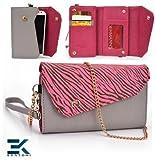 GREY & PINK ZEBRA   Universal Women's EPI Leather Wallet Phone Bag with Wrist Strap Shoulder Purse fits HTC DROID DNA Case. Bonus Ekatomi Screen Cleaner