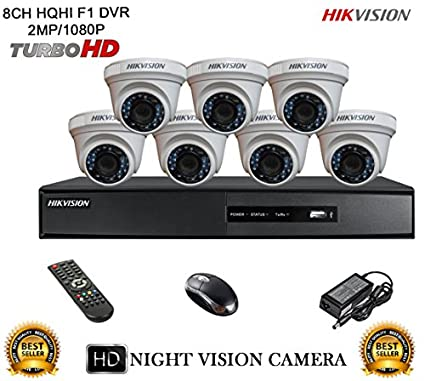 Hikvision-DS-7208HQHI-E1-8CH-Dvr,-7(DS-2CE56DOT-IRP)-Dome-Camera-(With-Mouse,-Remote)