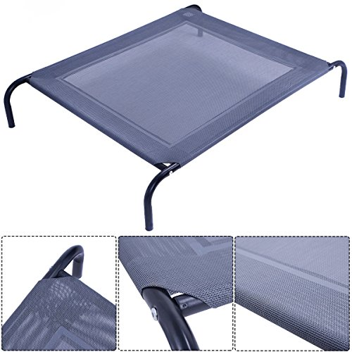 New Large Dog Cat Bed Elevated Pet Cot Indoor Outdoor Camping Steel Frame Mat (Elevated Dog House compare prices)