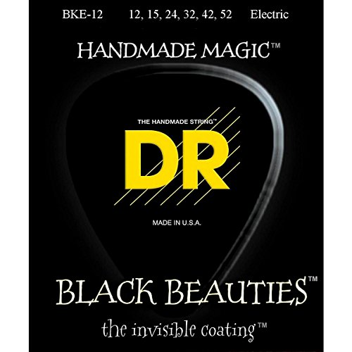 Dr Strings Electric Guitar Strings, Black Beauties - Extra-Life Black Coated, 12-52