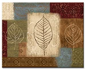 CounterArt Leaf Collage Glass Cutting Board, 14-7 8 by 11-3 4 Inches by CounterArt
