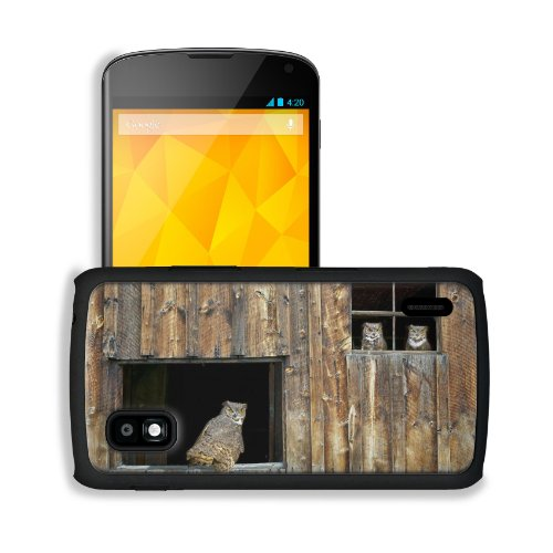 Owl Barn Window Wooden Predator Bird Google Nexus 4 Mako Snap Cover Case Premium Leather Customized Made To Order Support Ready 5 3/16 Inch (132Mm) X 2 13/16 Inch (72Mm) X 4/8 Inch (12Mm) Liil Nexus_4 Professional Cases Touch Accessories Graphic Covers De front-934545