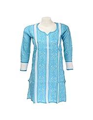 PR Chikans Women Poly Cotton Chikan Blue Round Neck Kurti (Size : 38) - B00R49AIH0