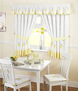 Amazon Com Lemons Gingham Kitchen Embroidered Curtains