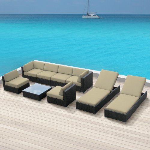 Luxxella Outdoor Patio Wicker BELLA 9Pc Light Beige Sofa Sectional Furniture All Weather Couch Set image
