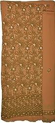 Knool Women's Georgette Unstitched Salwar Suit (CGDM01OLIVGRN, Olive Green)