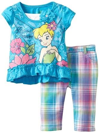 (新品)Disney Toddler Girls Tinkerbell Plaid Pant迪斯尼小叮当女孩两件套$12.4