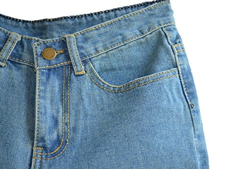 Juniors's Denim Vintage Retro High Waist Jeans Short 2