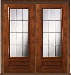 Prehung French Double Door 80 Wood Alder French 3 4 Lite Glass 6 1 Entry Doors