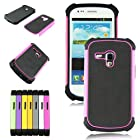 Voberry 1 x Hybrid Rugged Rubber Hard High Impact Armor Case Cover For Samsung Galaxy S III Mini i8190 (Rose)