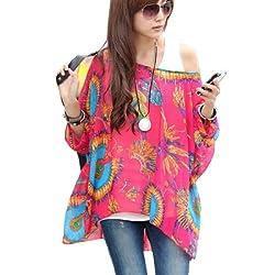 5865 Bohemian Hippie Big Size Batwing Sleeve Chiffon Blouse Loose Off Shoulder Shirt